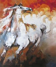Fine Artist Hand-painted Pakistan Animal Horse Art Oil Painting on Canvas in Palette Knife Technique Wall Artwork Equine Picture
