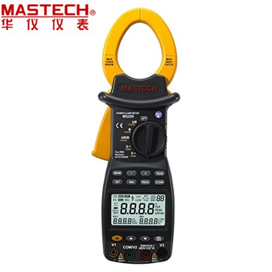 TRUE RMS Harmonic Power Meter Auto Ranging Smart Digital Power Clamp Tester With Back Light And Rs232 Interface MASTECH MS2205 цены