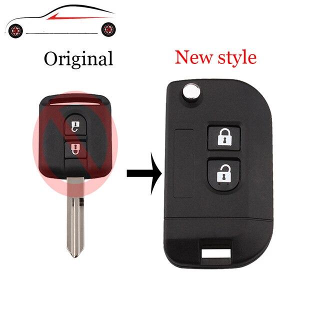 GORBIN 2 botones Nuevo estilo plegable llave remota funda de coche para Nissan Qashqai primera Micra Navara Almera nota soleado