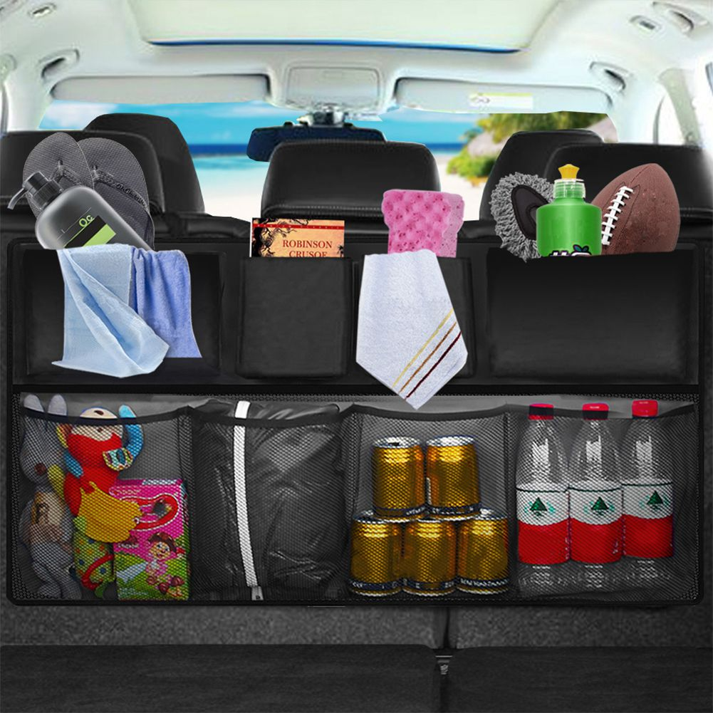 Car Rear Seat Back Storage Bag Multi Hanging Nets Pocket Trunk Bag Organizer Auto Stowing Tidying