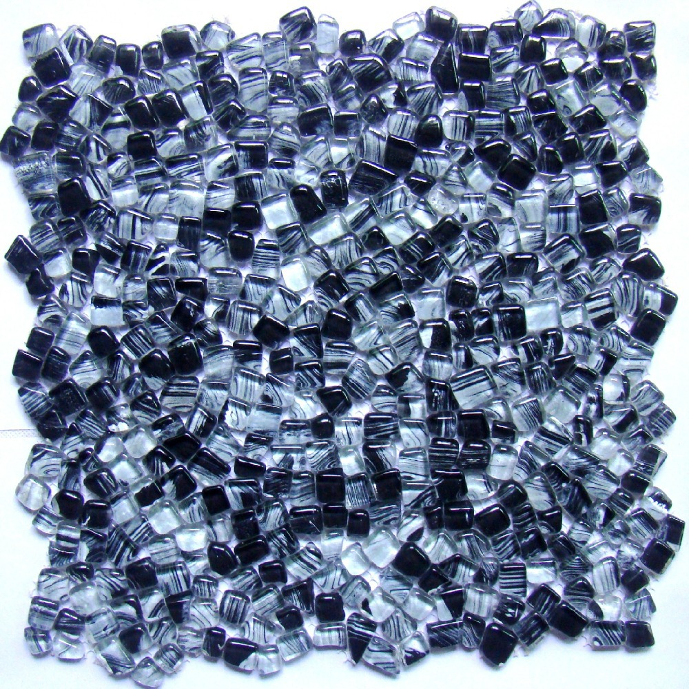irregular shape gray mixed black color glass mosaic tiles EHGM1005J ...