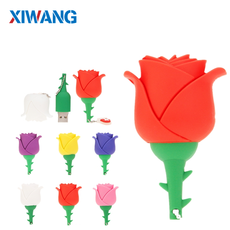 New red rose pen drive 64GB 32GB USB Flash Drive 16GB 8GB 4GB Romantic flower pendrive USB 2.0 flash memory stick girl best gift-in USB Flash Drives from Computer & Office