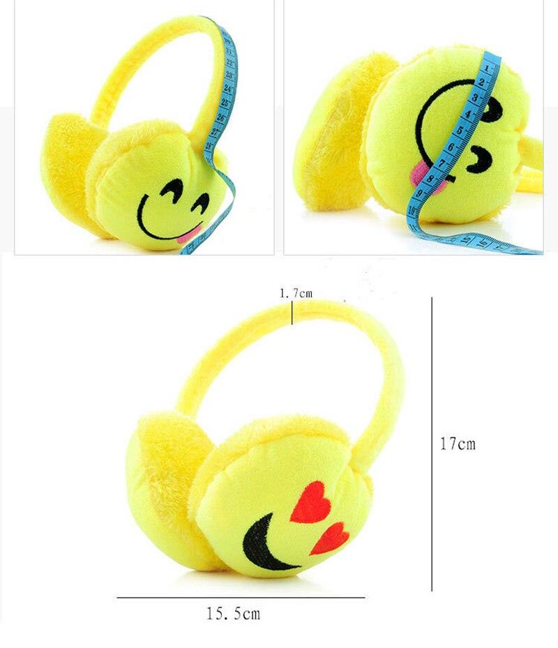 Silly Smile Black Emoji Pattern Winter Earmuffs Ear Warmers Faux Fur Foldable Plush Outdoor Gift