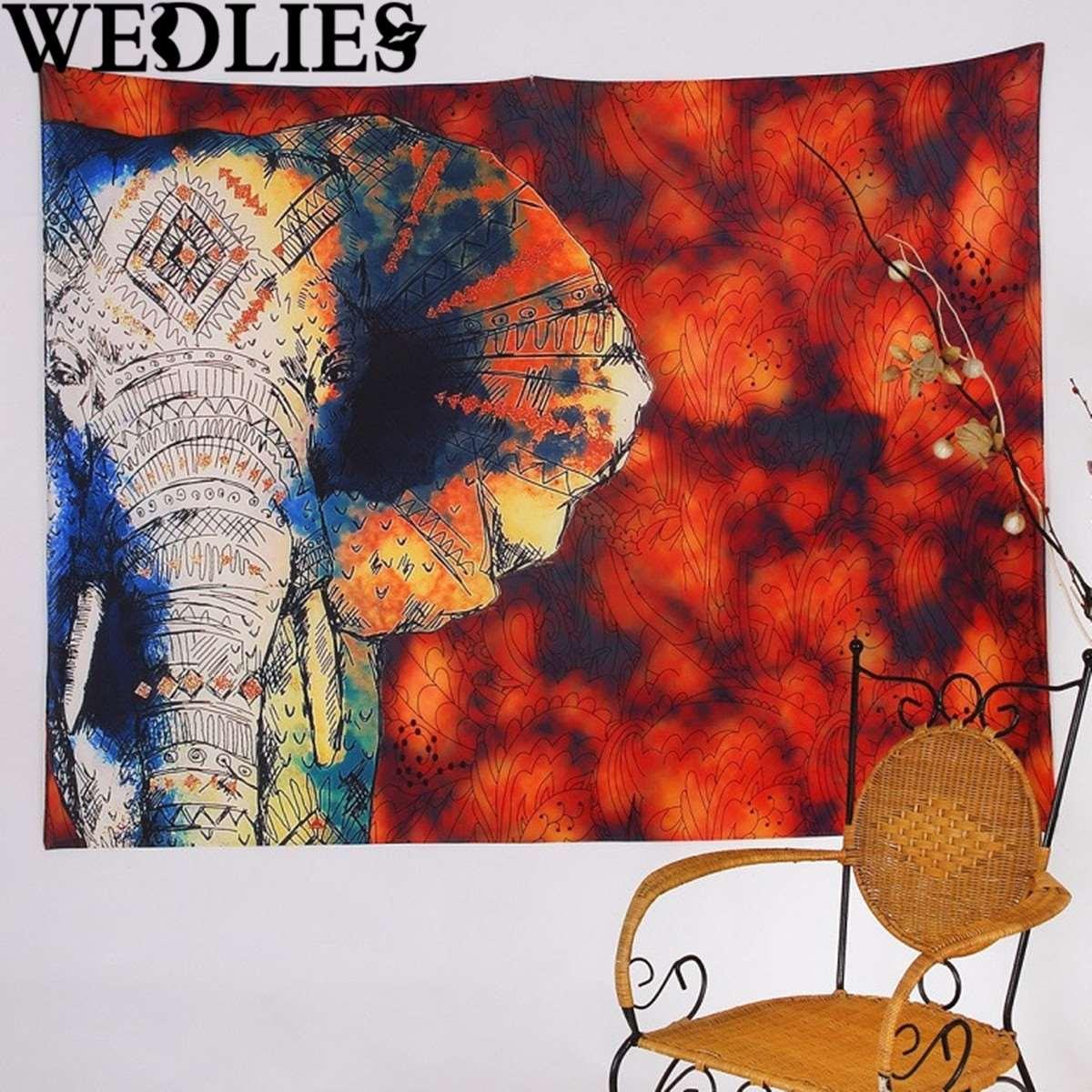 Throw Blanket Bedspread Yoga Mat 150x130cm Elephant Wall