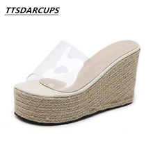 TTSDARCUPS new slopes and sandals Hemp straw soles Womens cool slippers Transparent shoe with thick bottom fish mouth  Shoes