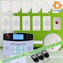 Голосовые Подсказки ЖК GSM Сигнализация Беспроводной Домашней Охранной Сигнализации Комплект с Датчик Дыма + Тревожная Кнопка