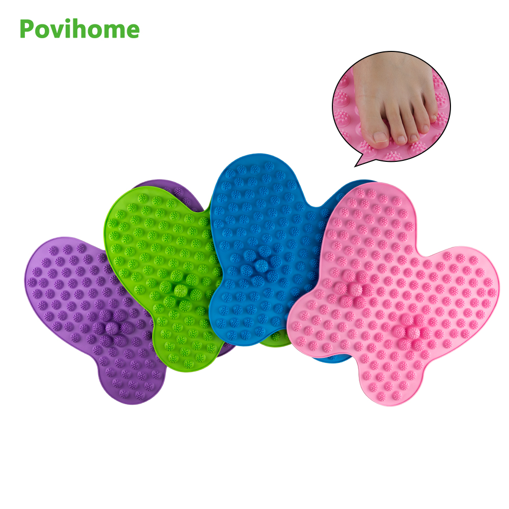 Buttefly Shape Washable Foot Pain Relief Massage Reflexology Mat Toe Pressure Plate Blood Circulation Shiatsu Health 01 1pair free size toe straightener big toe spreader correction of hallux valgus pro toe corrector orthopedic foot pain relief