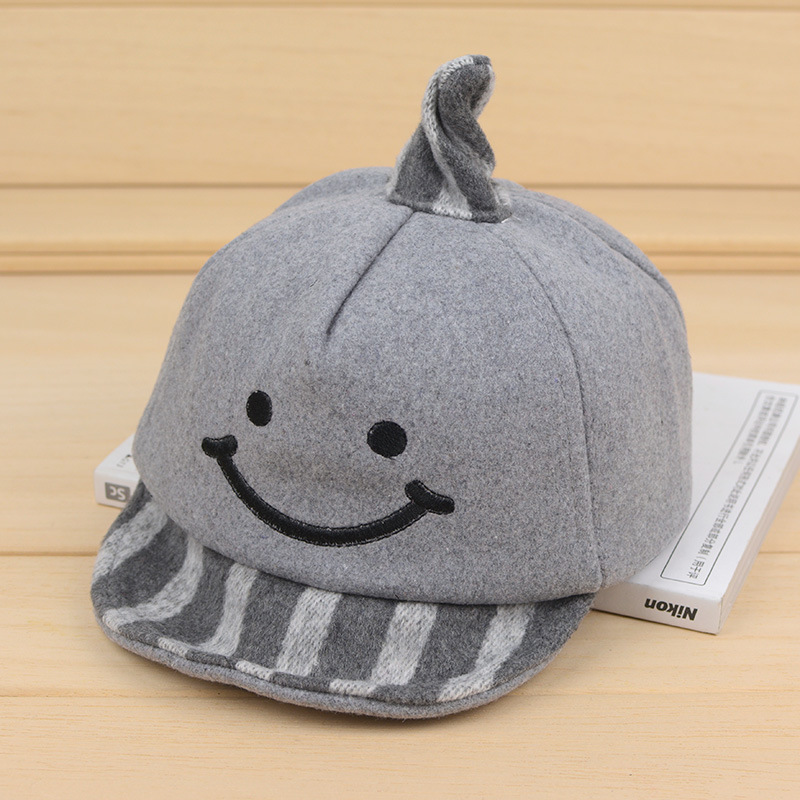 697621d4 Smile Cartoon Children's Hats Embroidery Felt Baby Trilby Autumn Winter  Windproof Babies Hat Warm Cute Kids Boys Baseball Caps-in Hats & Caps from  Mother ...