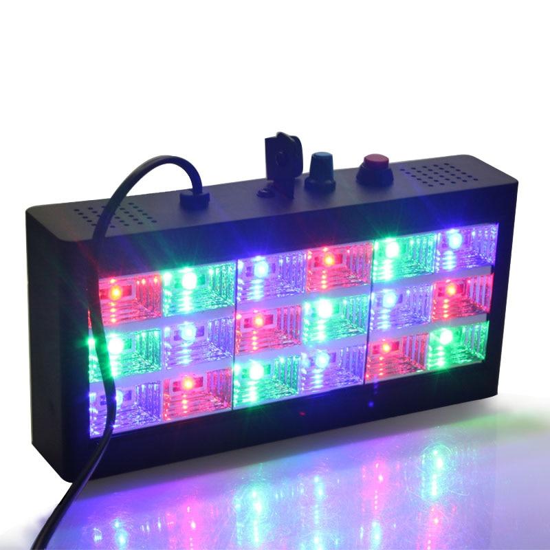Sound music control 18W RGB Led stage Effect lighting DJ party show strobe Disco light 220V AC 110V Laser Projector Club Bar
