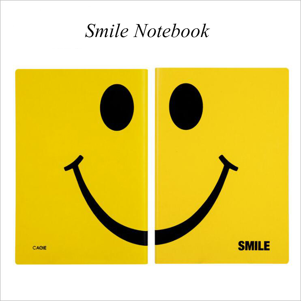 Creative A5 Smile Leather Notebook Kawaii Daily Office School Stationery Planner Cute Travel Organizer Laugh Journals Diary kokuyo creative no needle mine manual plastic stapler office school stationery