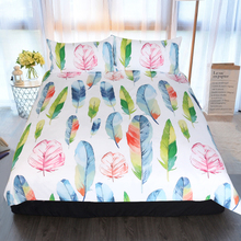 Colorful Feather Bed Linen Set Full Cotton Linen for Baby 3pcs Twin Queen King Duvet Covers 2pcs Pillows Bed Set Linens Space E promotion 9pcs full set cot baby bed linen 100