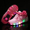 Hot 2016 Sapatos de Jazz Criança, júnior Meninas/Meninos Sapatos de Luz LED, crianças Sapatas Do Patim De Rolo, caçoa as Sapatilhas Com Rodas Simples