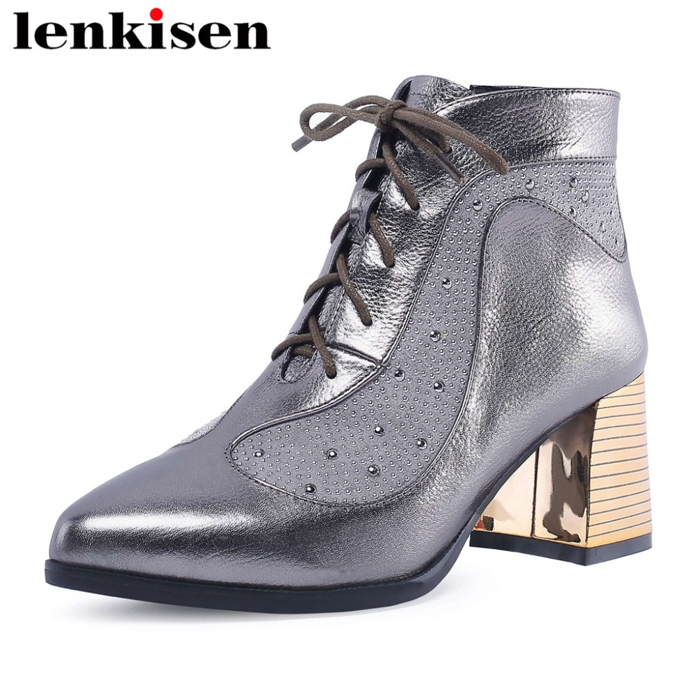 Lenkisen pointed toe thick high heels genuine leather plus size solid oxford studded rivets high quality women ankle boots L1f9Lenkisen pointed toe thick high heels genuine leather plus size solid oxford studded rivets high quality women ankle boots L1f9