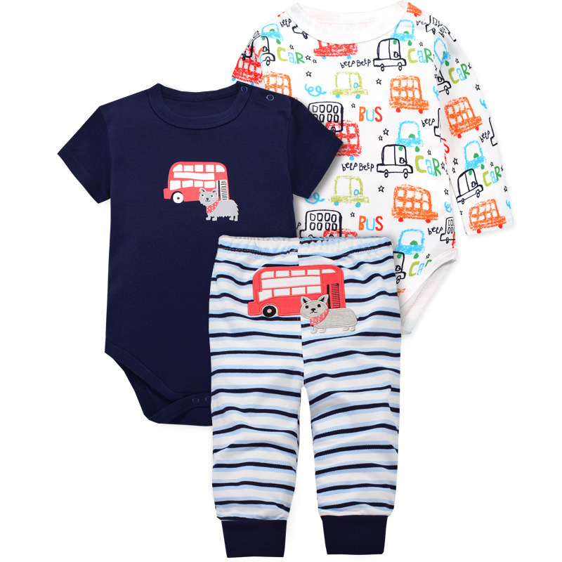 Boy and girl babies newborn babies climb short sleeved long sleeved pants in a three-piece combinationBoy and girl babies newborn babies climb short sleeved long sleeved pants in a three-piece combination