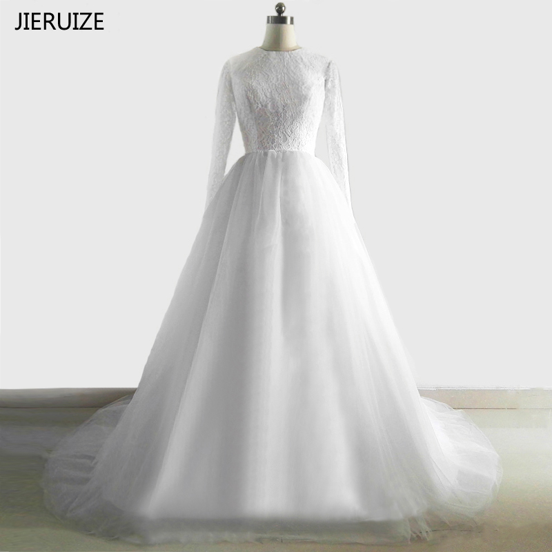 JIERUIZE White Vintage Lace Long Sleeves Wedding Dresses