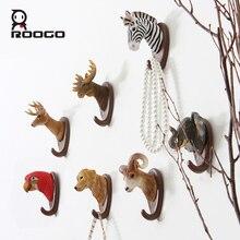 ROOGO 3D Resin Animal Wall Hook 7 Shape Head Stickers Coat Track Decorative Pothook Hat Clothes Rack