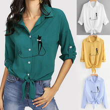 Casual V Neck Women Embroidered Cat Knotted Hem Shirt Long Sleeve Blouse Button Tops Blusa Feminina