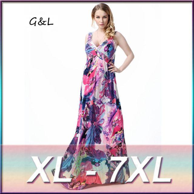 dcbe2c19e3a71 plus size XL 2XL 3XL 4XL 5XL 6XL7XL Women Beach Dress Boho V Neck Ice silk  backless Print Casual Long Maxi Dresses Vestidos 505-in Dresses from ...