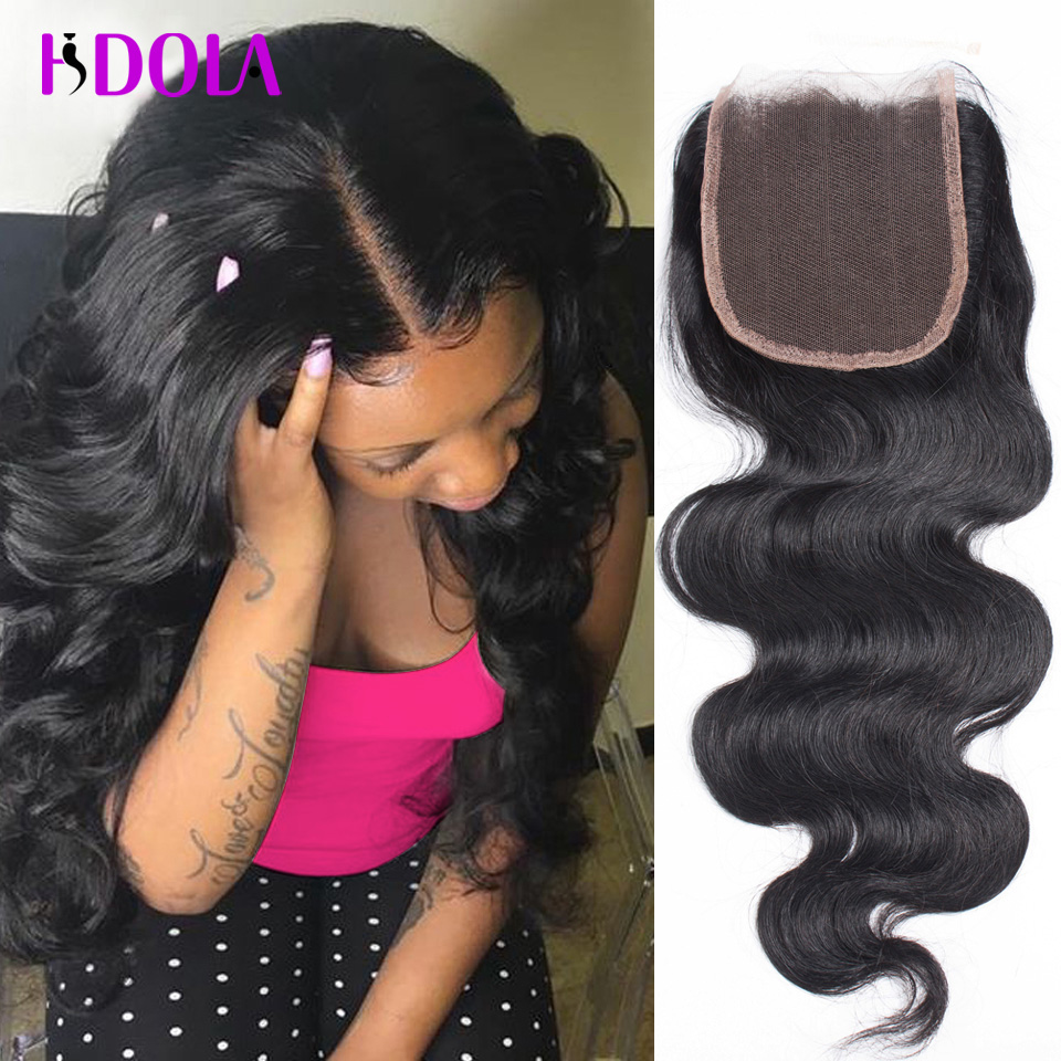 top brazilian body wave closures free 3 part human hair