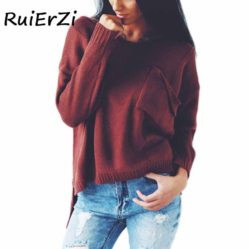 New Fashion Autumn Casual V-neck Women Open Fork Pockets Solid Color Knitted Sweater Pullover Jumper Pull Femme Sweater