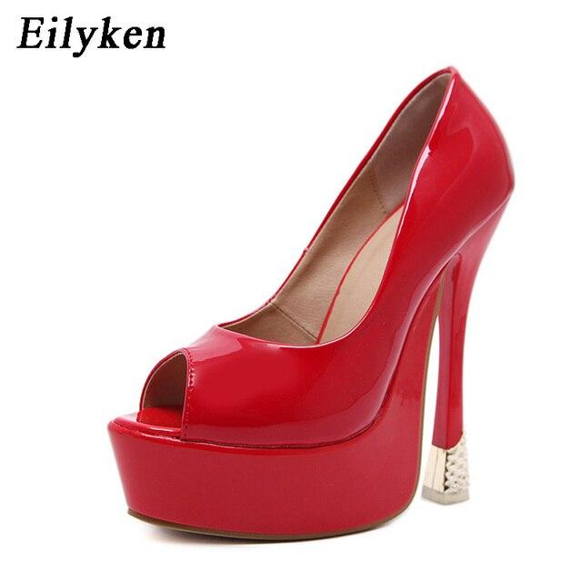 fdc0a60026338d Eilyken Élégant Femmes Rouge Chaussures De Mariage Peep Toe Super  Plate-Forme Haute Talons Chaussures