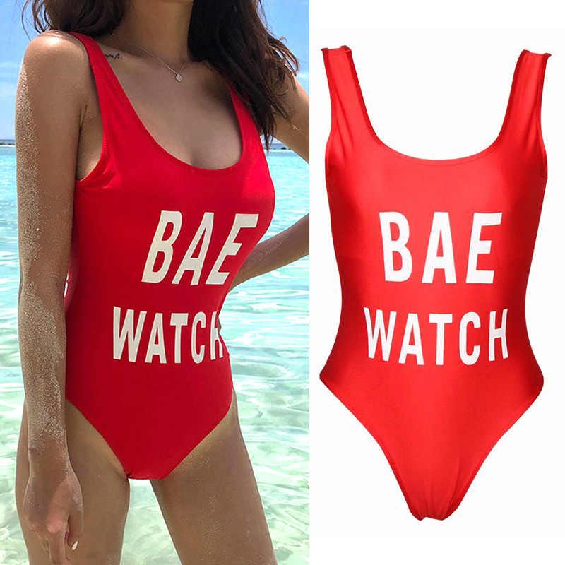 נשים אחת חתיכות בגדי ים BAE שעון מודפס Slim Fit ללא משענת לשחות ללבוש לקיץ חוף FDC99
