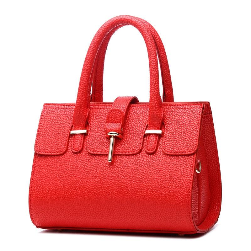 Red Fashion PU Women Handbag Tote Casual Office Lady Shoulder Bag Crossboday Messenger Zipper