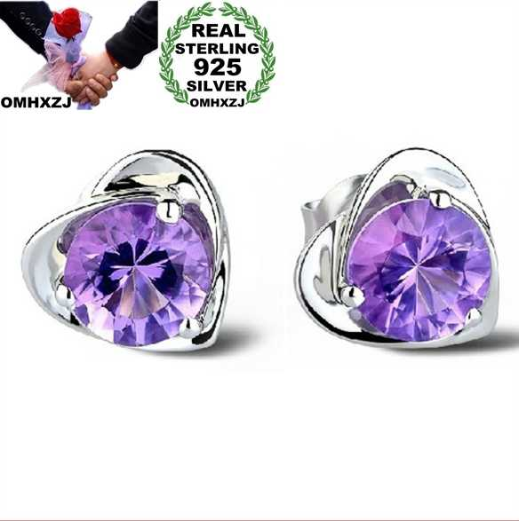 OMHXZJ grosir Fashion perhiasan kristal jantung sertifikasi Internasional Amethyst nyata 925 sterling silver earrings Stud YS03