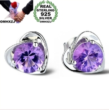 OMHXZJ wholesale Fashion jewelry crystal heart International certification Amethyst real 925 sterling silver Stud earrings YS03