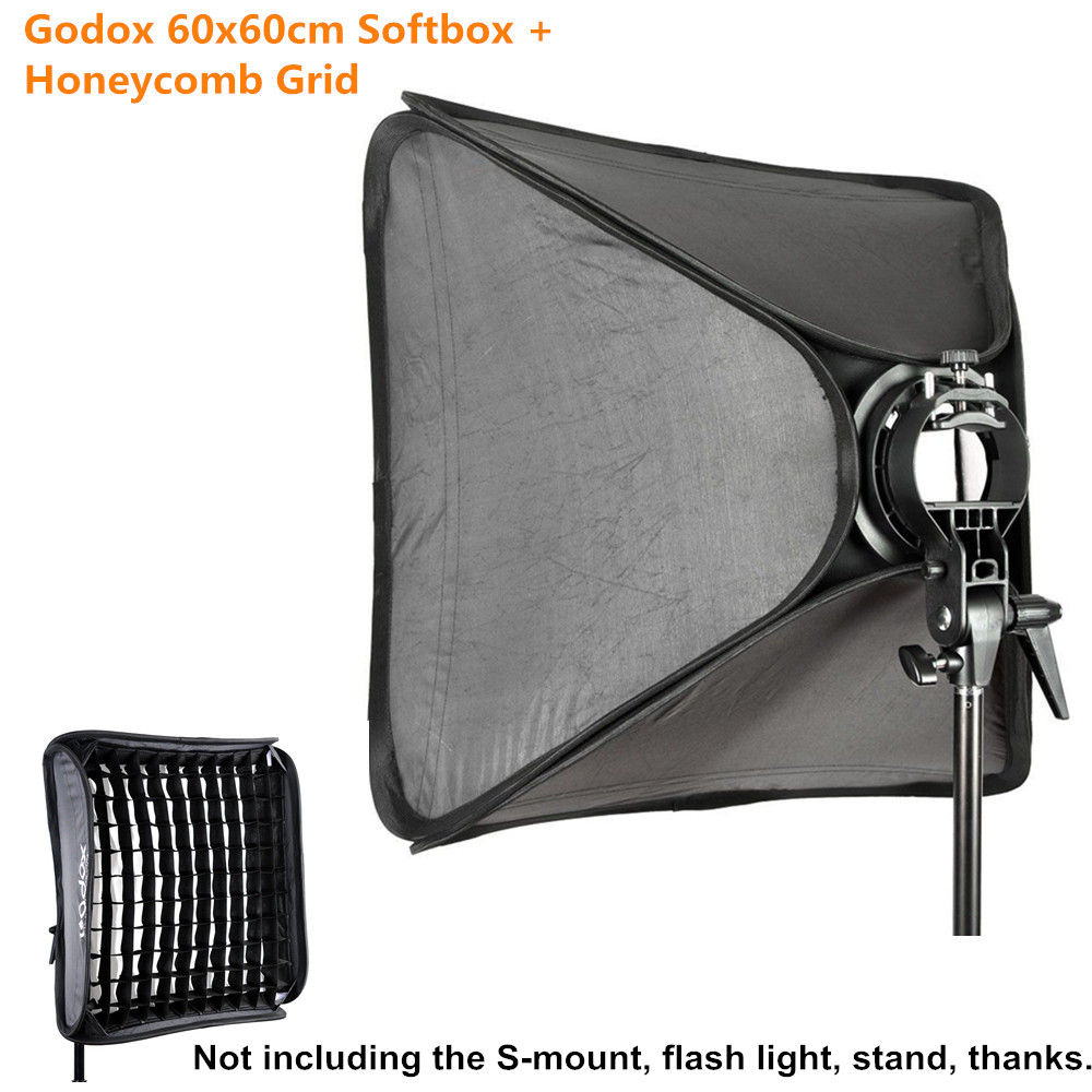 Godox 60x60cm Softbox+Honeycomb Grid Box For Photography Studio Flash fit Diffuser Reflector Bowens With Video For DSLR Cameras