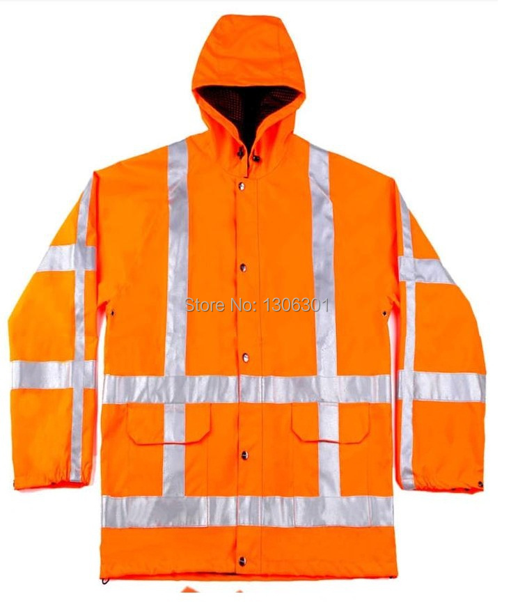 ФОТО 3M high light Reflective long sleeve raincoat with hat Waterproof safety clothing inventory sale