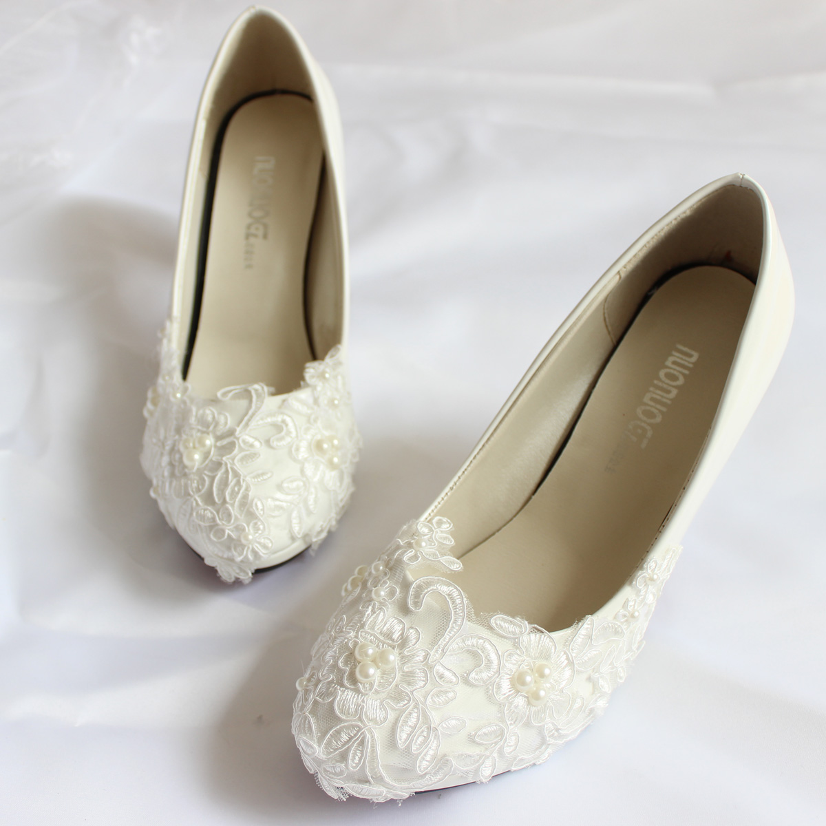 9e32705382b8 white lace wedding shoes pearls ankle trap bridal flats low high ...