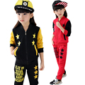 New children suit girls autumn jacket suits big girls embroidered  five-pointed star fashion sport suit brand spring kid 2 piece