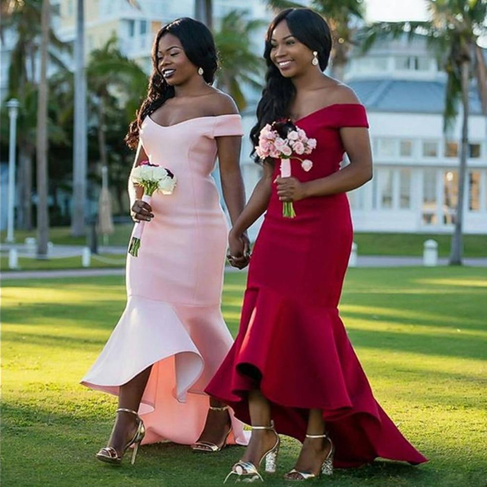 Burgundy Memaid Satin Simple Bridesmaid Dresses Boat Neck Off The Shoulder Elegant Maid Of Honor Dress Custom Made Women Gowns