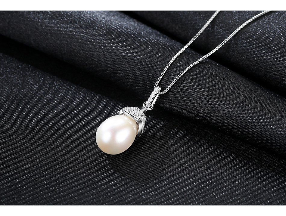 Серебряное ожерелье Кулон микро-комплект 3A Циркон натуральный пресноводный жемчуг Дикий ювелирные изделия GB10