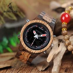 BOBO BIRD LED Digital Wood Case Watch Men Dual Display Quartz Watches Man Luxury relogio masculino in Bamboo Gift Box W-P02
