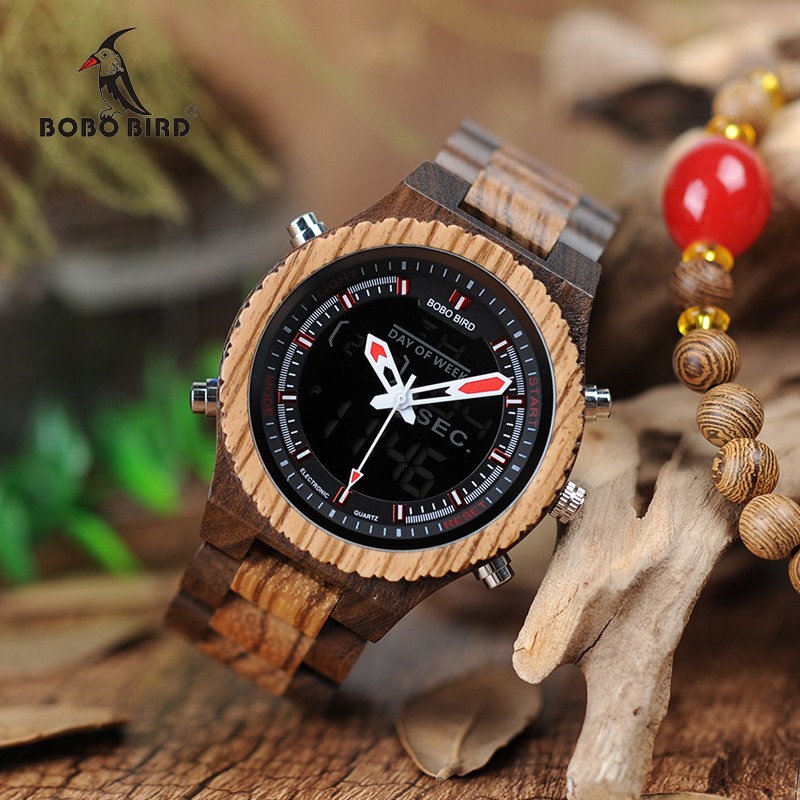 BOBO BIRD WP02 Wooden Watches Original Luxury Brand Dual Display Quartz Watch for Men LED Digital Watch in Bamboo Box bobo bird mens watch red sandalwood analog wooden quartz wrist watches with luxury watch famous brand in gift box free shipping