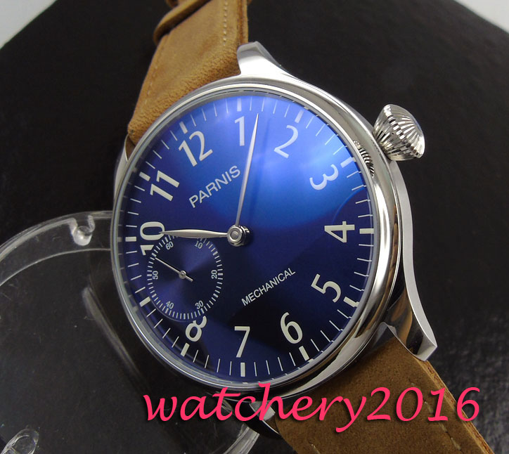 New 44mm Parnis blue dial Arabic numerals mineral crystal 17 jewels 6497 hand winding Movement Men