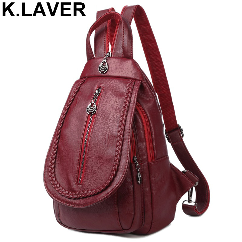 New Fashion Ladies Backpacks Casual Laptop Travel Bag Zipper Weave Knit Chest Pack Leather Women Shoulder Bags for iPad A4 file faux leather fashion women backpacks vintage casual daypacks shoulder bags travel bag free shipping