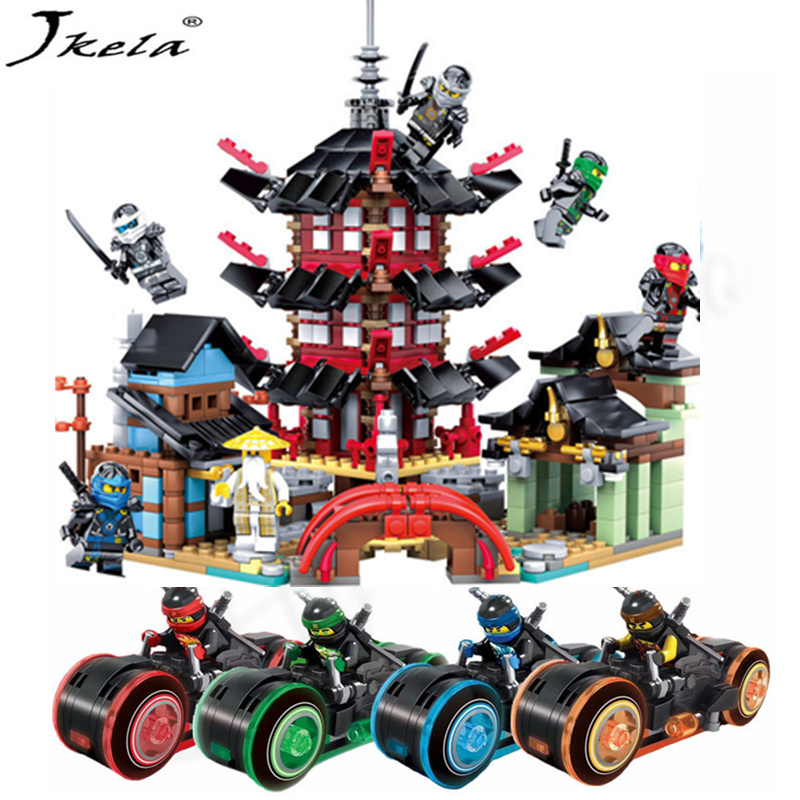 [Jkela] New Ninja Temple+Ninja Motorcycle DIY Building Block educational Toys for child gifts Compatible with legoing ninjagoes