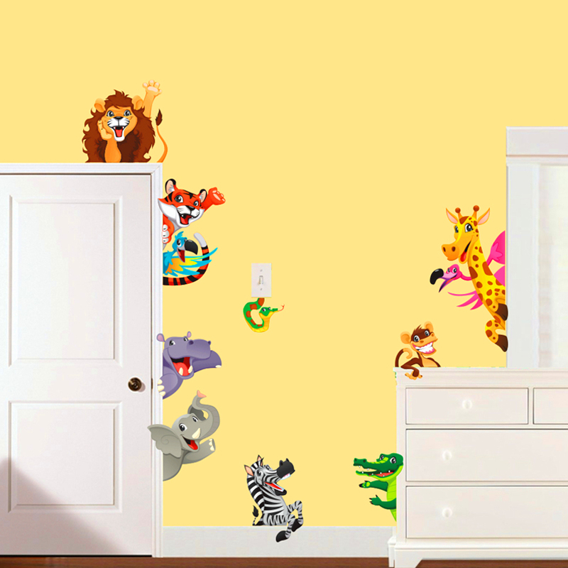 cartoon animals world child wall art stickers for kids room bedroom ...