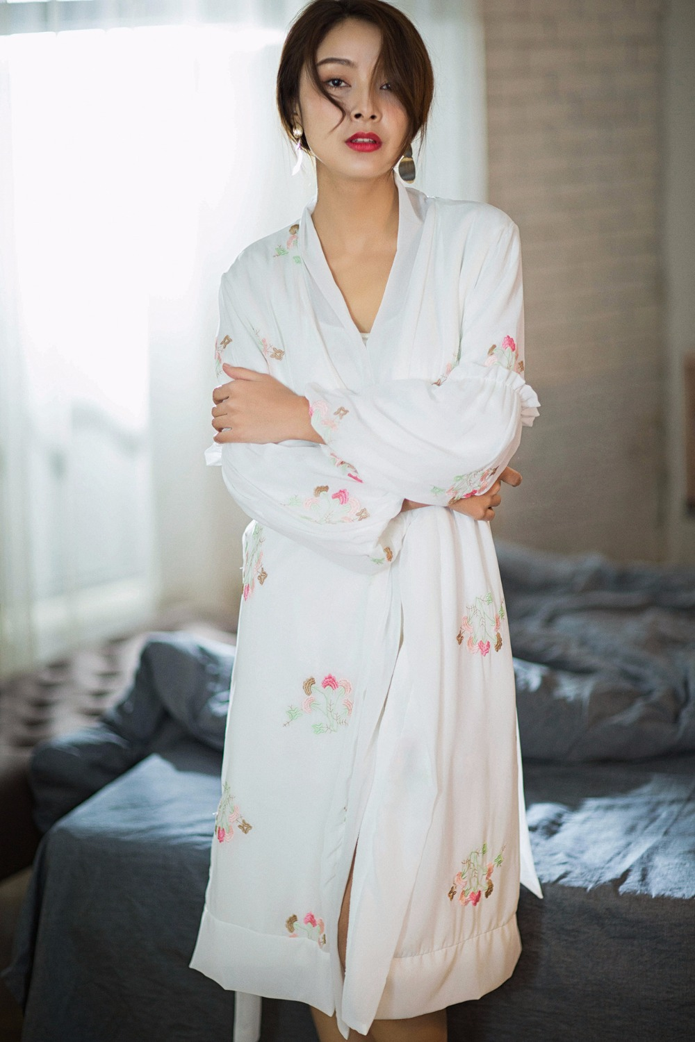Silk Wedding Robes for Women 2018 Spring Autumn Bathrobes Lace Kimono Robe Sexy Sleepwear Nightie Nuisette