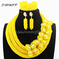 New Christmas Yellow Flower African Costume Jewelry Sets Nigerian Wedding Beads Bridal Necklaces Earrings Free Shipping L1022