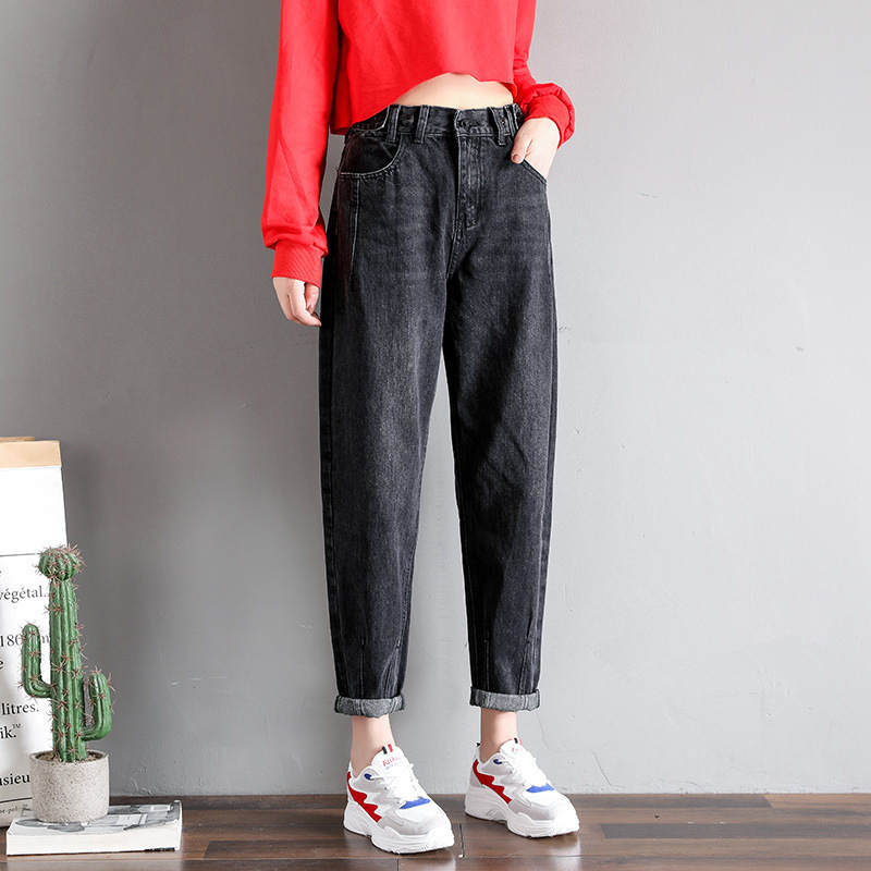 Spring Women High Waist Jeans Blue Black Denim Wide Leg Women Jeans Vaqueros Mujer Long Pants Boyfriend Jeans For Women C5200