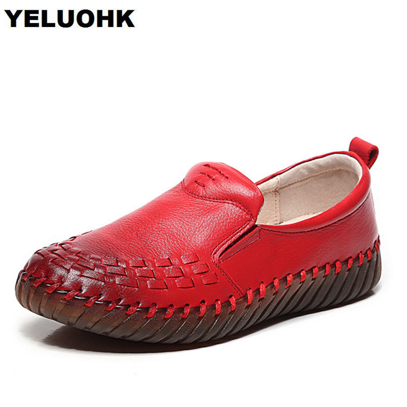 2018 Spring Genuine Leather Shoes Women Flats Fashion Handmade Shoes Women Loafers Casual Women Moccasins Ladies Shoes