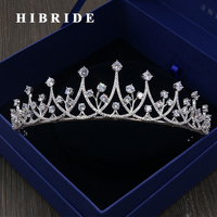 HIBRIDE Luxury Cubic Zirconia Hair Accessories Women Wedding Tiaras and Crown Engagement Gifts Fashion Jewelry C 08