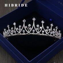 HIBRIDE Accesorios Para el Cabello De Lujo Cubic Zirconia Mujeres Tiaras y Coronas de Novia Regalos de Joyería de Moda de Compromiso C-08
