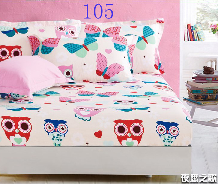 cartoon owl twin full queen size cotton sheets fitted bed sheet elastic mattress cover bed linen. Black Bedroom Furniture Sets. Home Design Ideas