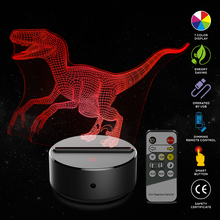 New Cartoon Jurassic World Bru Dinosaur Raptor Shape Acrylic LED Lamp 3D Night Light for Baby Children Sleeping Lighting