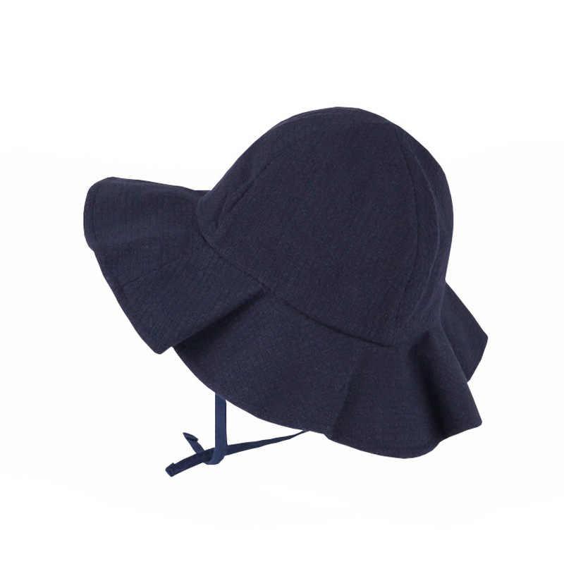 Kids Bucket Hats Cotton Summer Outdoor Baby Solid Color Hat Children Floral Cap Sun Beach Cap Lovely Lace Princess Girl Sun Hat
